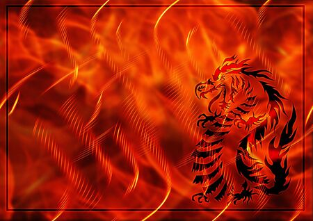 japanese dragon: Abstract background with a burning flame and dragon
