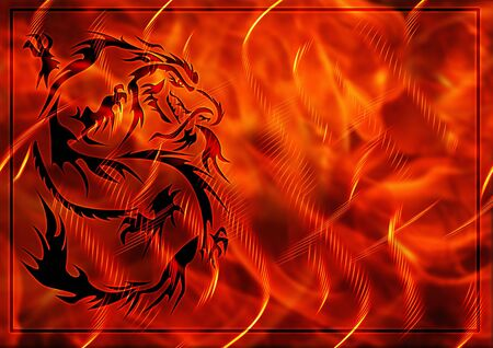Abstract background with a burning flame and dragon photo