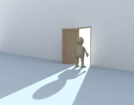 3d person puppet at an open door photo