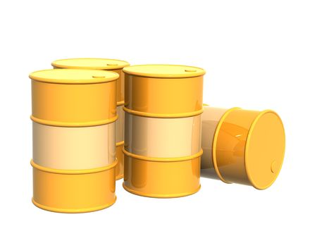 Four tanks of yellow color. Objects over white Stock Photo - 3096977