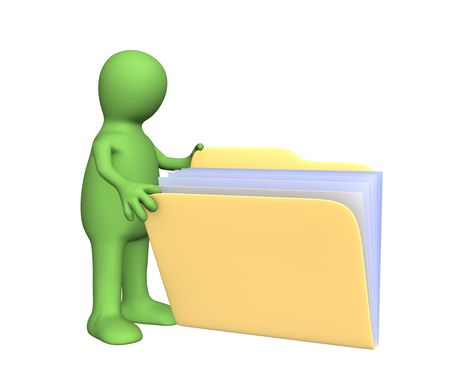 3d puppet: 3d puppet, opening  folder with documents. Object over white