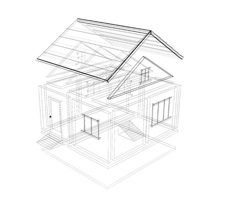 house outline: 3d sketch of a house. Object over white Stock Photo