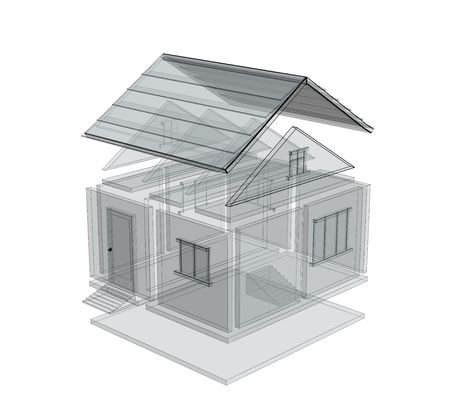 3d sketch of a house. Object over white Stock Photo - 3143692