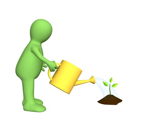compost: 3d puppet watering a small plant. Object over white