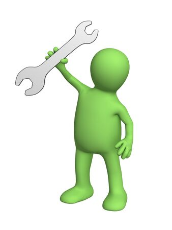 Puppet worker with a wrench in hand. Object over white photo