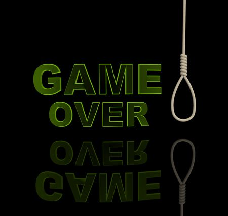 Green letters and rope loop. Object over black