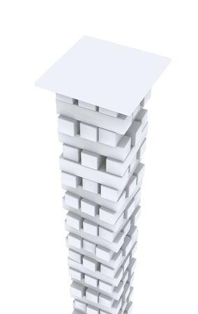 pillar box: High white column from bricks. Object over white Stock Photo