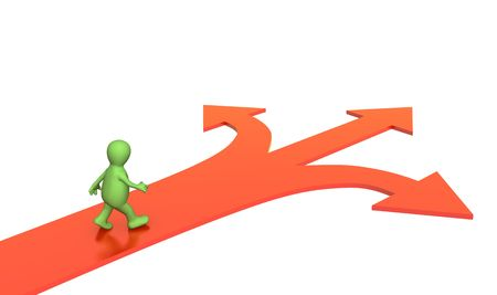 diversely: 3d person, going to a fork of three roads. Objects over white