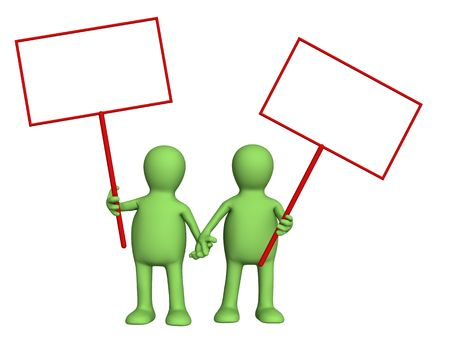 affinity: Couple puppets with posters in hands. Object over white Stock Photo