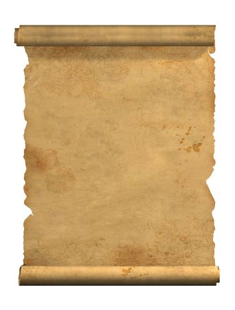 Scroll of old parchment. Object over white Stock Photo - 3223116