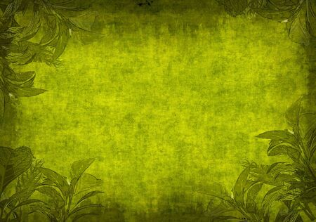 primavera: Grunge background - a sheet of the old paper  with green leaves