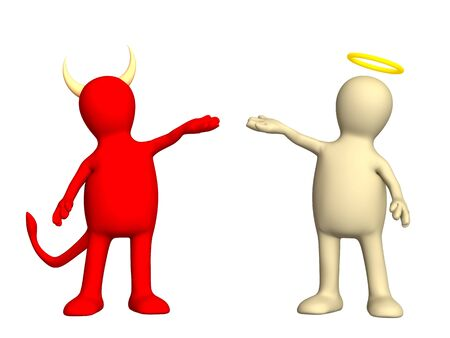 Angel and devil -  kindness and evil Stock Photo