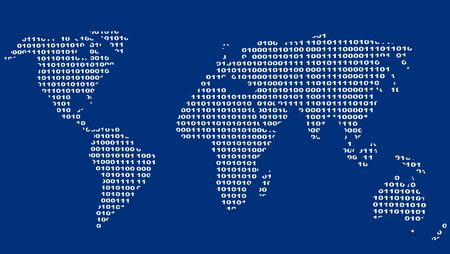 Background - map of the world from a binary code Stock Photo - 3247663