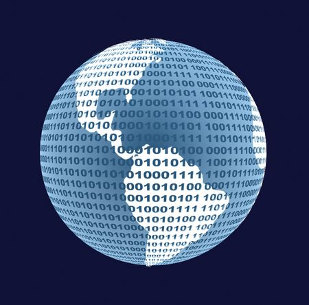 binary globe: Globe from a binary code