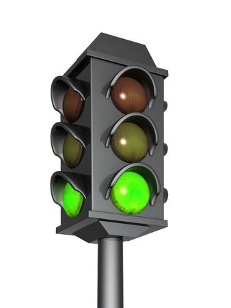 trafficlight: 3d traffic light with a burning green signal