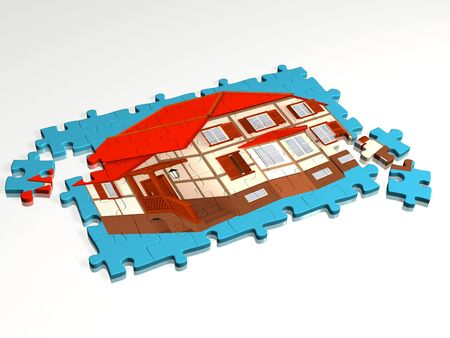 Combined puzzle with a picture of a cottage. Object over white Stock Photo - 3247662