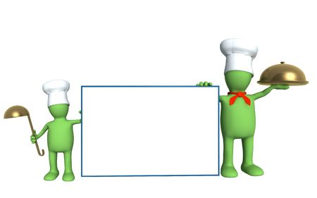 caterer:  of cooks - parent and child. Object over white