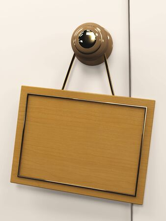 inconvenience: Wooden 3d tablet, hanging on the door handle Stock Photo