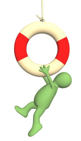 drown: Puppet hanging on a lifebuoy ring. Object over white Stock Photo