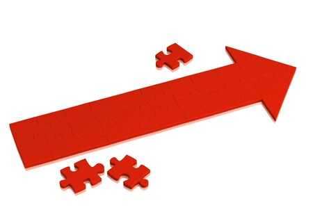 hither: Red arrow made of pieces of puzzle. Object over white Stock Photo