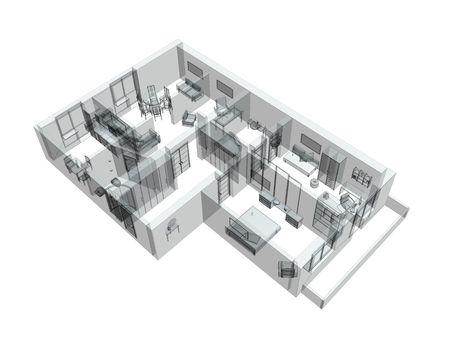 arquitecto: 3d dibujo de un apartamento de cuatro habitaciones. Objeto más blanco