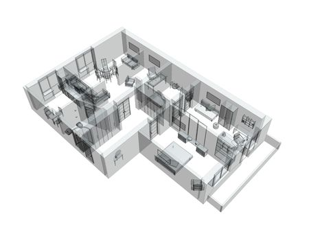 interior drawing: 3d sketch of a four-room apartment. Object over white