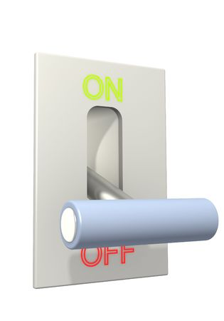 3d lever on position off. Object over white Stock Photo - 3351381