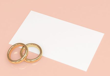 Background with wedding rings and a card Stock Photo - 3390541