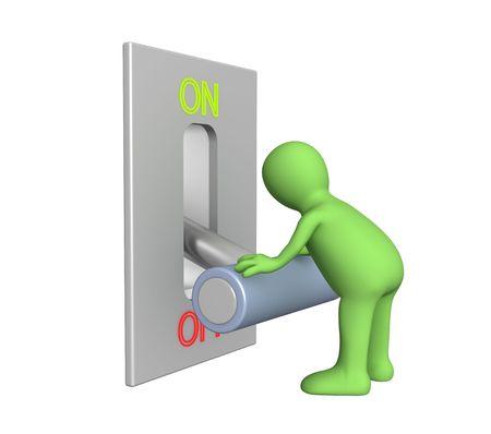 döndürme: Puppet, turned lever on position off