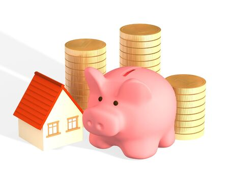 house exchange: Conceptual image - money for purchase of habitation