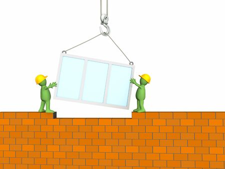 Two 3d builders puppet building the house Stock Photo - 3390579