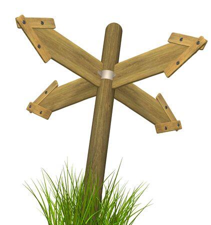 Four 3d retro wooden arrow - index on a column Stock Photo - 3417118