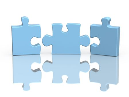 three: Three parts of a puzzle. Object over white Stock Photo