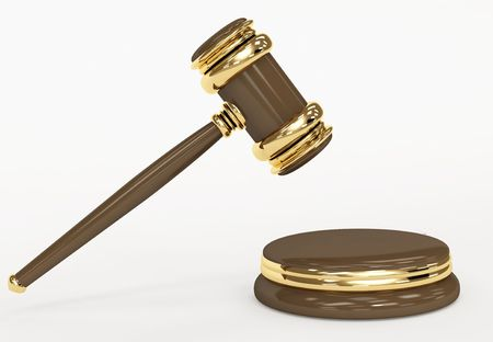 judicial: Symbol of justice - judicial 3d gavel. Object over white