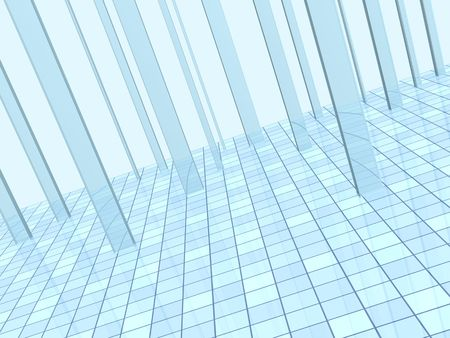 diminishing view: Abstract blue background with columns and a tiled floor