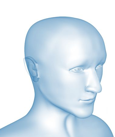 Transparent 3d head of the man - x-ray. Object over white Stock Photo - 3417078