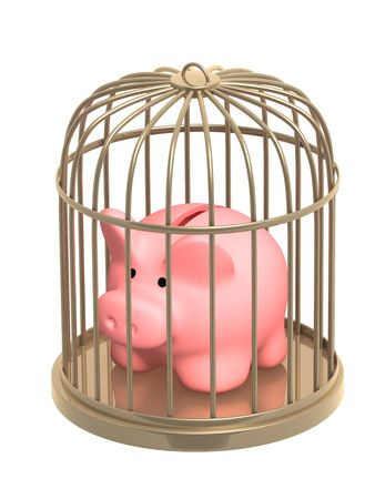 jailbird: Piggy bank closed in a cage. Object over white Stock Photo