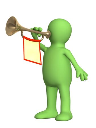 annunciation: 3d puppet trumpeter playing on a trumpet Stock Photo