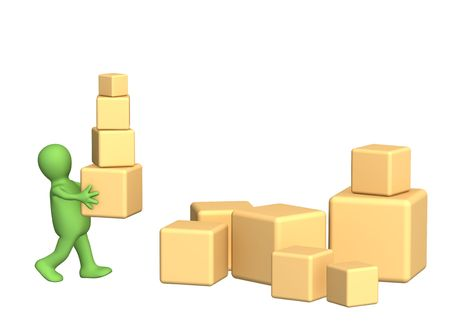 distribution picking up: 3d person a puppet, carrying boxes. Object over white Stock Photo