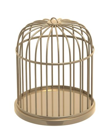 penitentiary: 3d golden cage. Object over white
