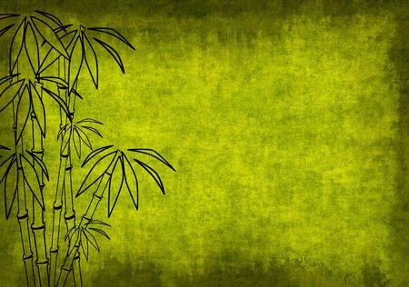 primavera: Grunge background of green color with bamboo Stock Photo