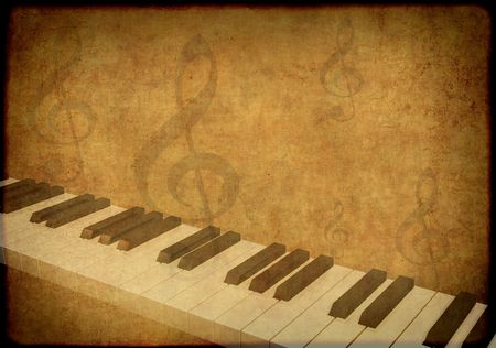 quavers: Grunge background with piano and musical symbols