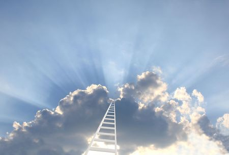 career path: Conceptual image - 3d ladder in the sky