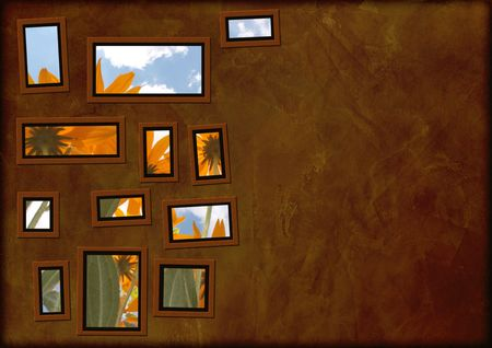 Grunge background with frames of brown color Stock Photo - 3472330