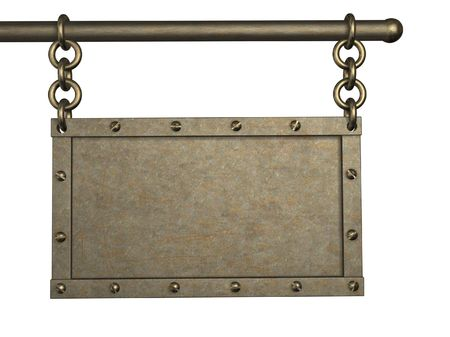3d metal tablet, suspended on circuits. Object over white Stock Photo