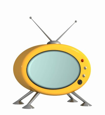 3d stylized model of a retro of the television. Object over white Stock Photo - 3508480
