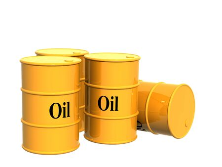 Four tanks of yellow color. Objects over white Stock Photo - 3508498