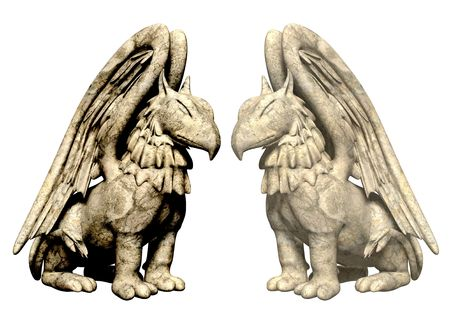 3d statues griffin from stone. Objects over white photo