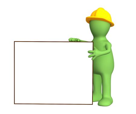 Puppet builder with empty frame. Object over white photo