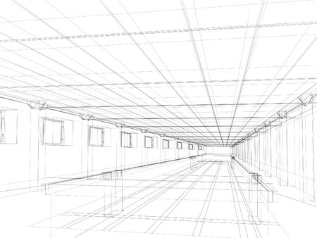 3d abstract sketch of an interior of a public building Stock Photo - 3537827